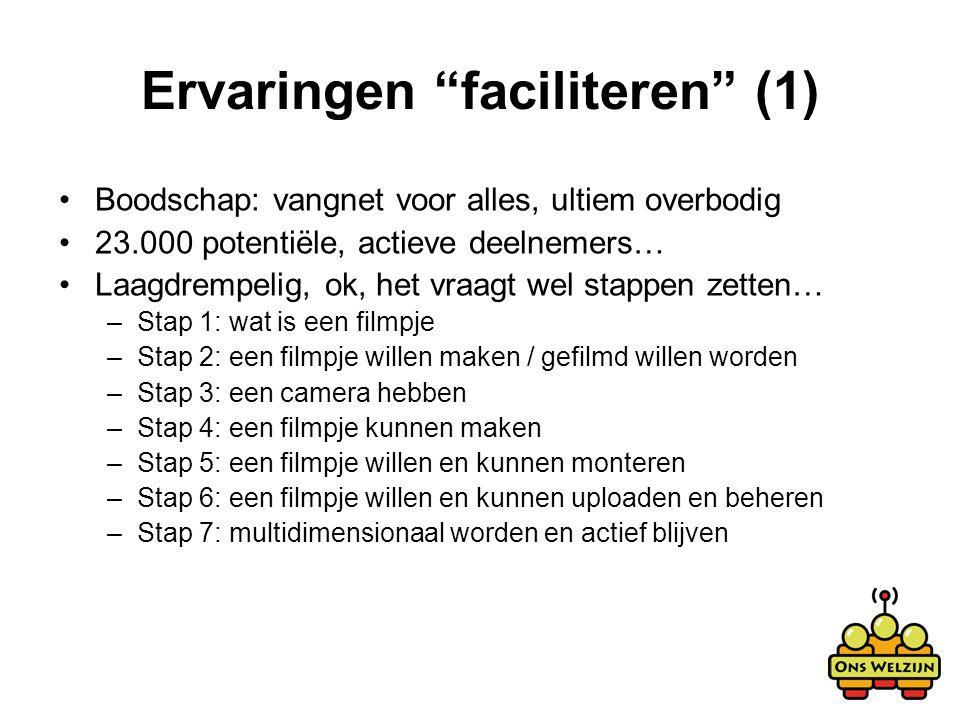 """Ervaringen """"faciliteren"""" (1) Boodschap: vangnet voor alles, ultiem overbodig 23.000 potentiële, actieve deelnemers… Laagdrempelig, ok, het vraagt wel"""