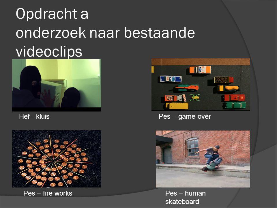Opdracht a onderzoek naar bestaande videoclips Hef - kluisPes – game over Pes – fire worksPes – human skateboard