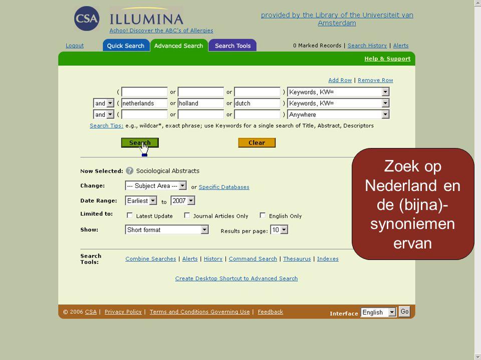 Zoek op Nederland en de (bijna)- synoniemen ervan