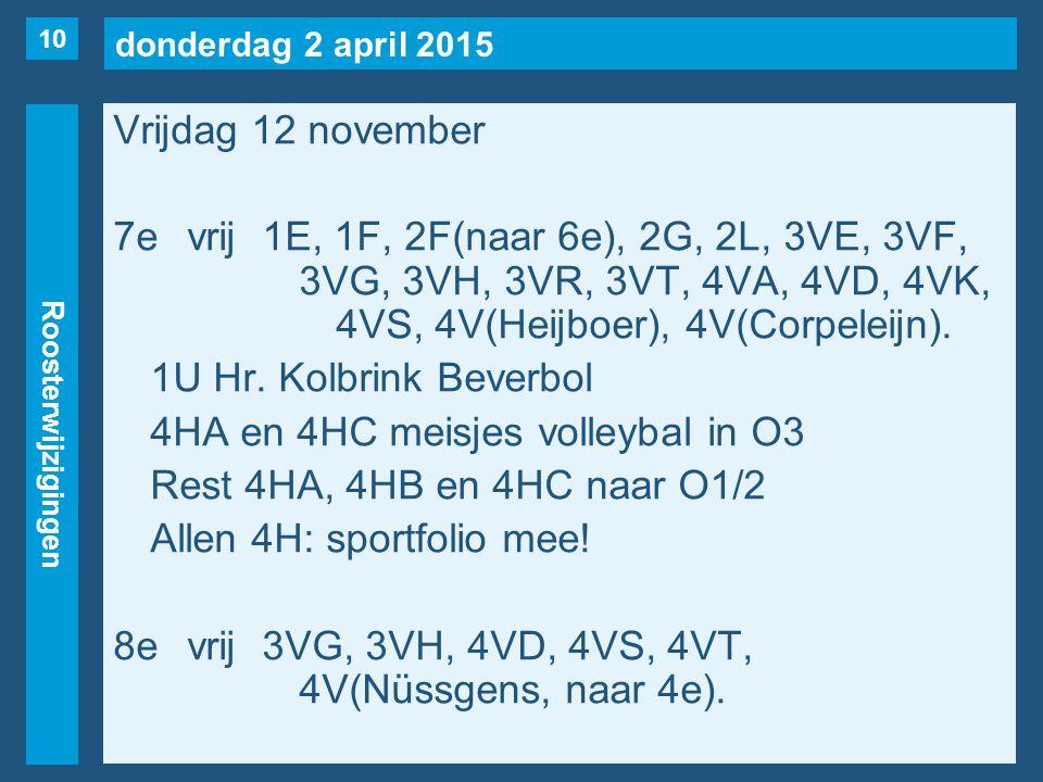 donderdag 2 april 2015 Roosterwijzigingen Vrijdag 12 november 7evrij1E, 1F, 2F(naar 6e), 2G, 2L, 3VE, 3VF, 3VG, 3VH, 3VR, 3VT, 4VA, 4VD, 4VK, 4VS, 4V(Heijboer), 4V(Corpeleijn).