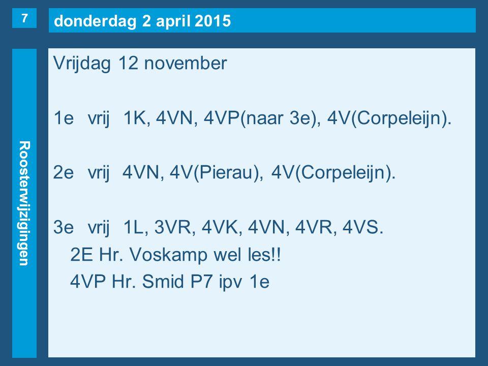 donderdag 2 april 2015 Roosterwijzigingen Vrijdag 12 november 1evrij1K, 4VN, 4VP(naar 3e), 4V(Corpeleijn).