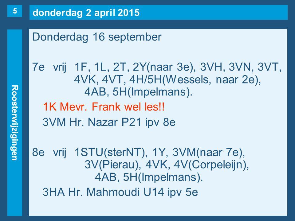 donderdag 2 april 2015 Roosterwijzigingen Vrijdag 17 september 1evrij1K, 1S, 3VC, 4V(Seriese), 4HB.