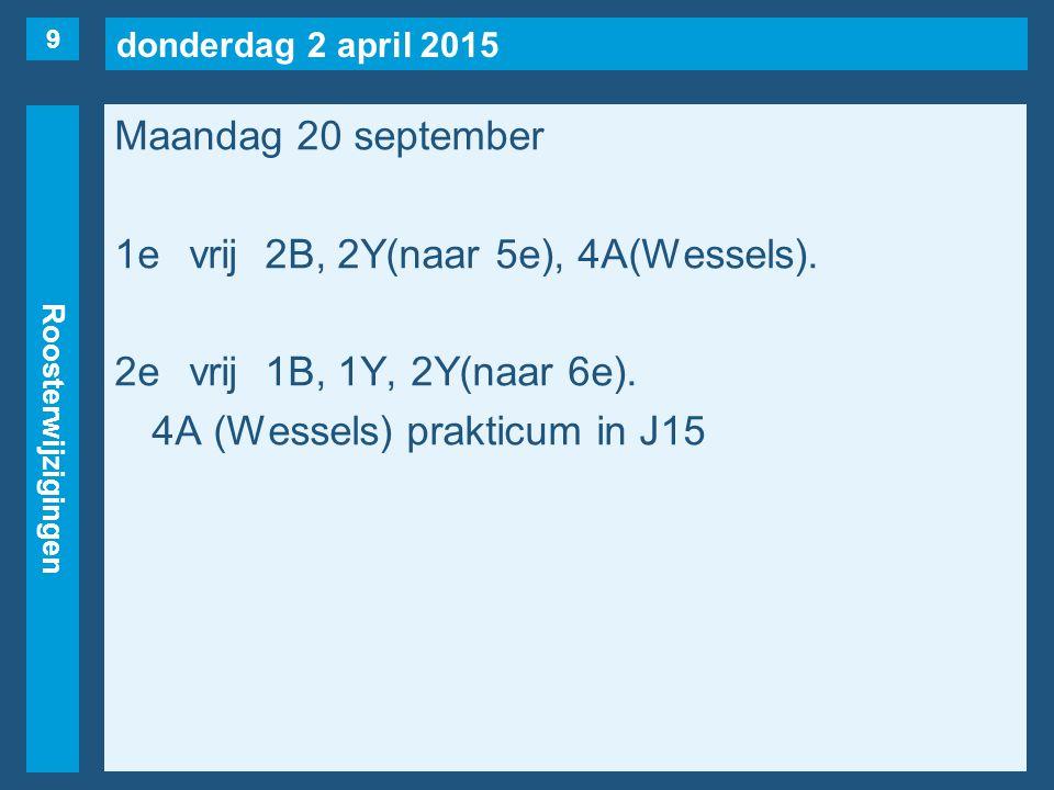 donderdag 2 april 2015 Roosterwijzigingen Maandag 20 september 1evrij2B, 2Y(naar 5e), 4A(Wessels).