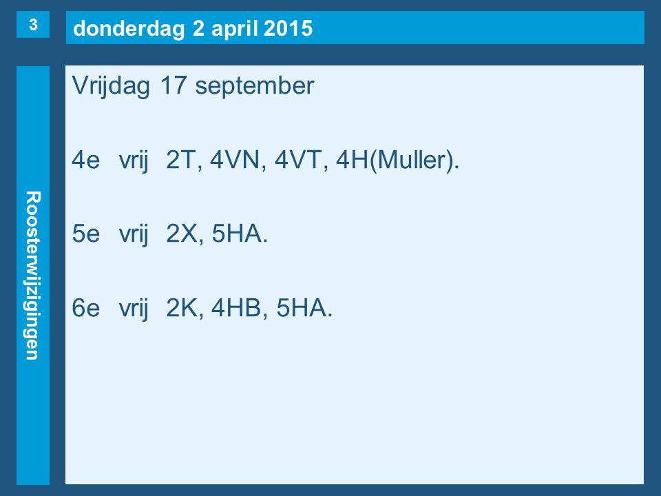 donderdag 2 april 2015 Roosterwijzigingen Vrijdag 17 september 4evrij2T, 4VN, 4VT, 4H(Muller).