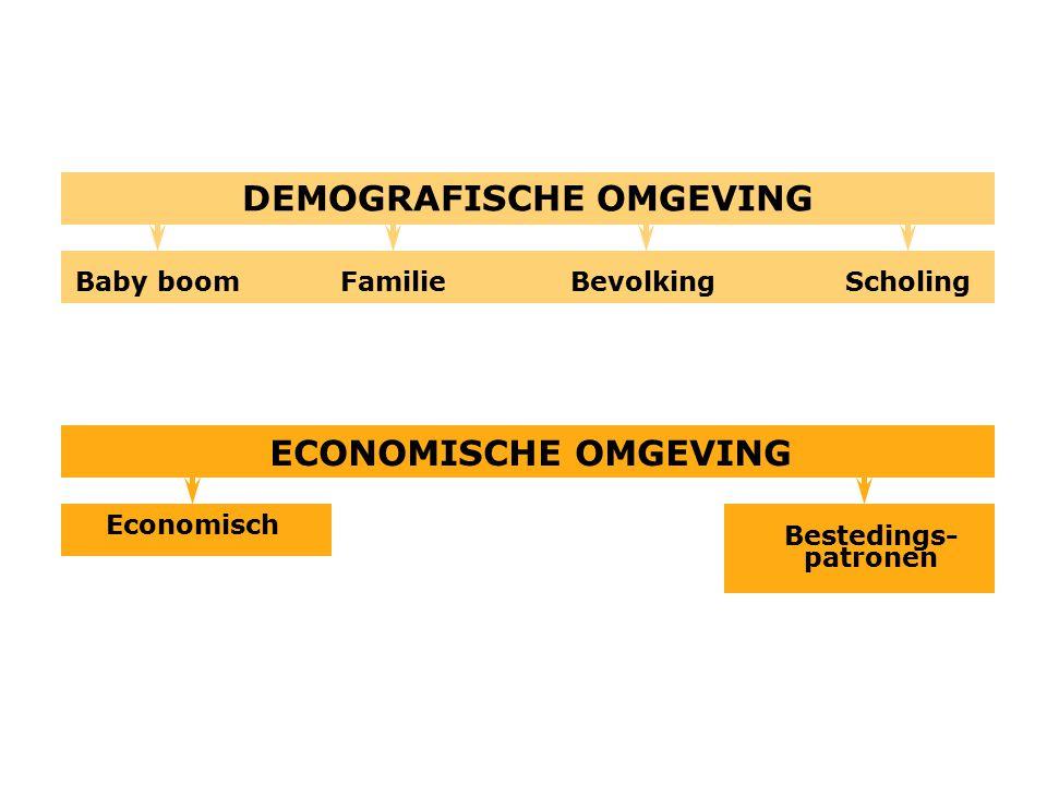 Bestedings- patronen Economisch ECONOMISCHE OMGEVING Baby boom DEMOGRAFISCHE OMGEVING BevolkingFamilieScholing