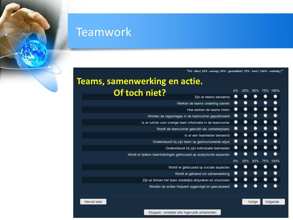 Teamwork Teams, samenwerking en actie. Of toch niet?