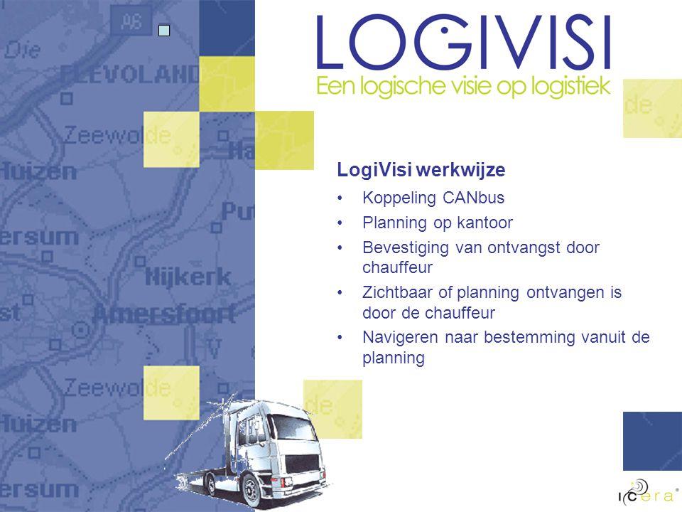 LogiVisi werkwijze Koppeling CANbus Planning op kantoor Bevestiging van ontvangst door chauffeur Zichtbaar of planning ontvangen is door de chauffeur Navigeren naar bestemming vanuit de planning
