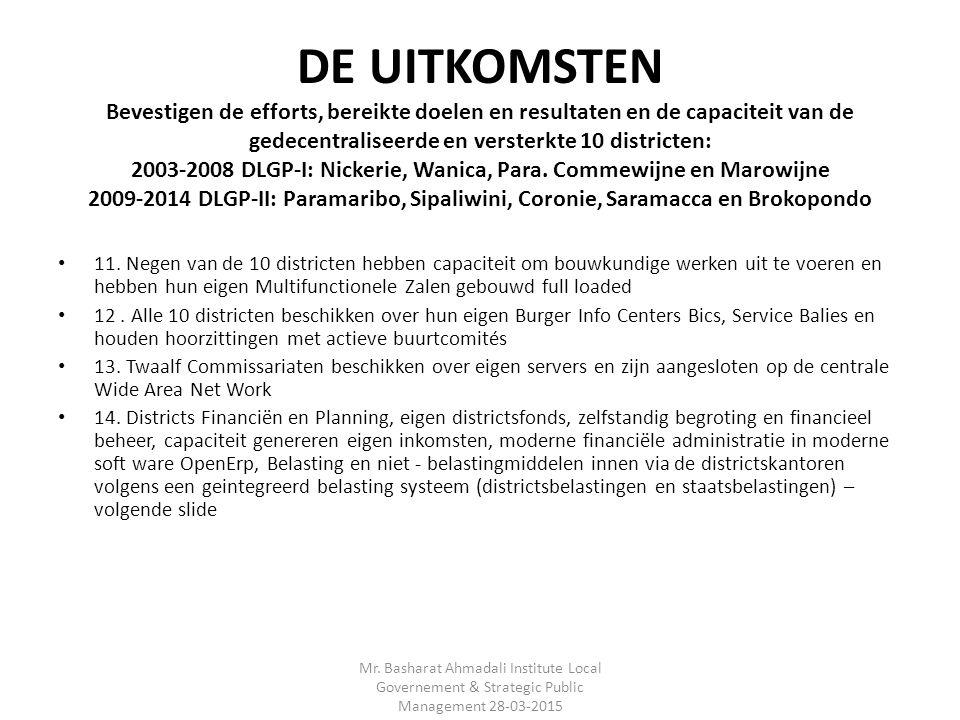 DE UITKOMSTEN Bevestigen de efforts, bereikte doelen en resultaten en de capaciteit van de gedecentraliseerde en versterkte 10 districten: 2003-2008 DLGP-I: Nickerie, Wanica, Para.