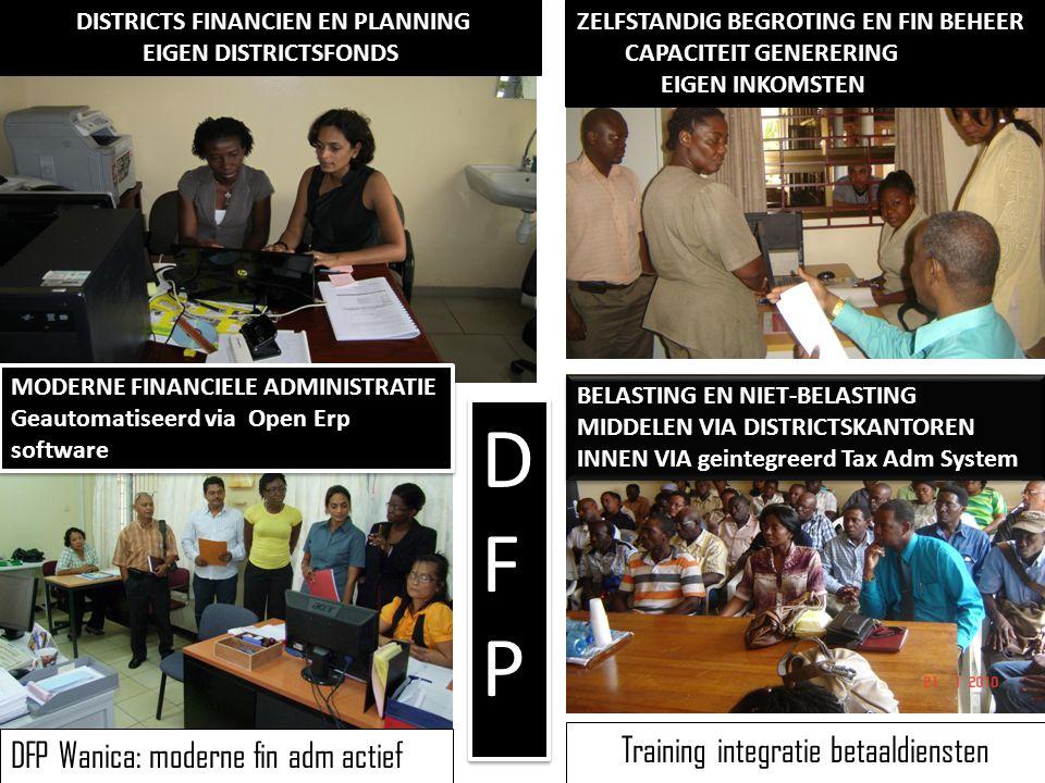 Training integratie betaaldiensten DFP Wanica: moderne fin adm actief DFPDFP DFPDFP DISTRICTS FINANCIEN EN PLANNING EIGEN DISTRICTSFONDS ZELFSTANDIG B