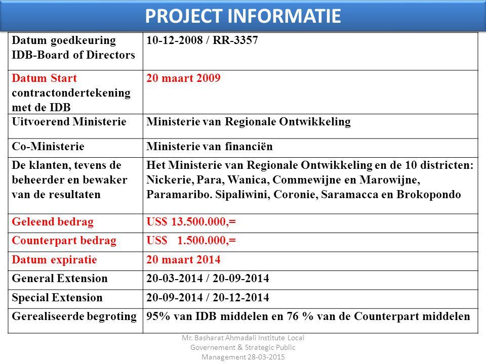 Datum goedkeuring IDB-Board of Directors 10-12-2008 / RR-3357 Datum Start contractondertekening met de IDB 20 maart 2009 Uitvoerend MinisterieMinister