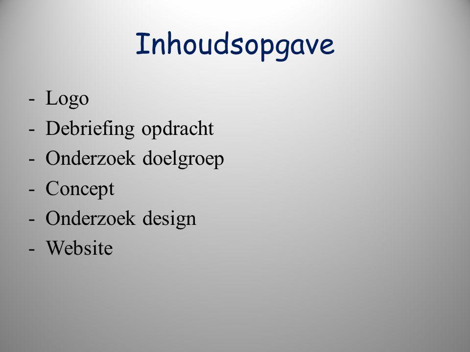 Inhoudsopgave - Logo - Debriefing opdracht - Onderzoek doelgroep - Concept - Onderzoek design - Website