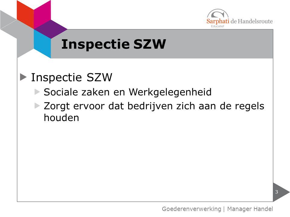 De Inspectie SZW richt haar inspectie op zaken zoals: risico op gezondheid en veiligheid van medewerkers illegale medewerkers te lange werktijden 4 Taken Inspectie SZW Goederenverwerking   Manager Handel