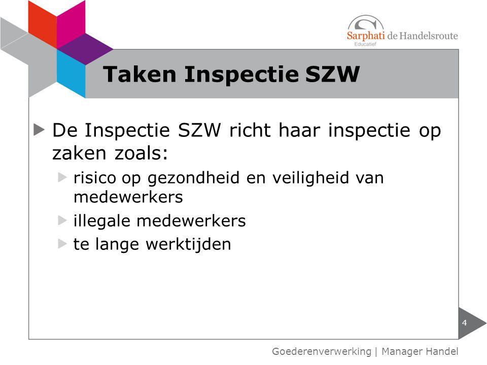 De Inspectie SZW richt haar inspectie op zaken zoals: risico op gezondheid en veiligheid van medewerkers illegale medewerkers te lange werktijden 4 Ta
