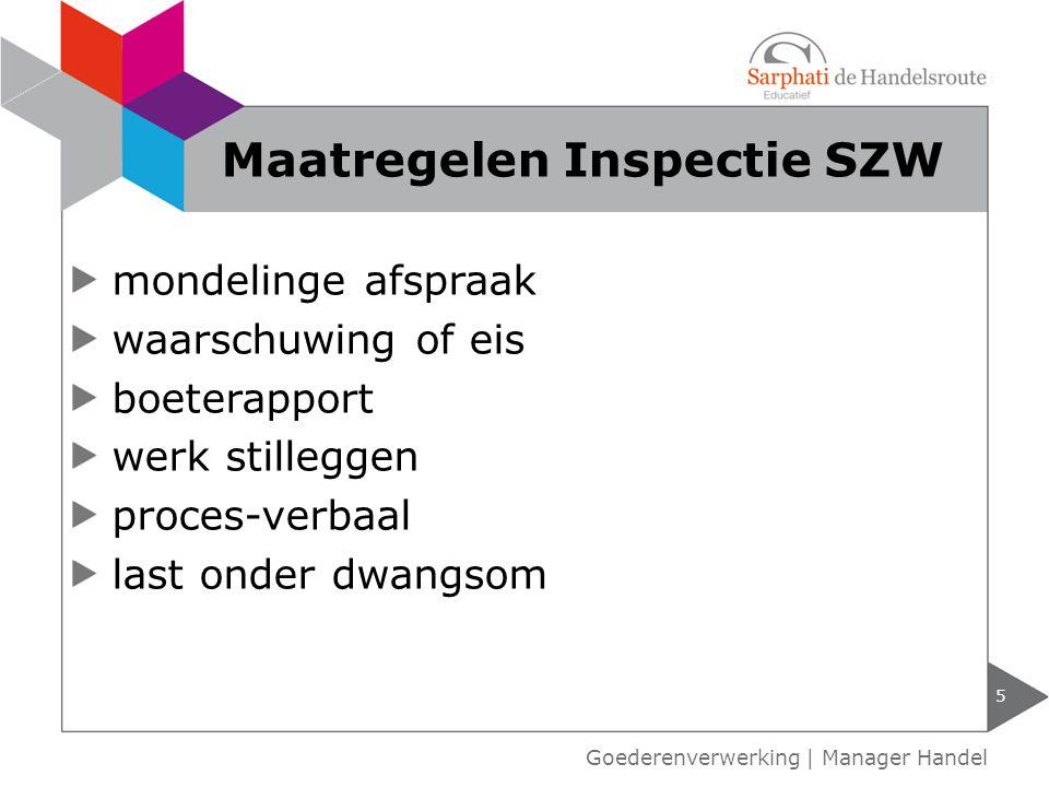 mondelinge afspraak waarschuwing of eis boeterapport werk stilleggen proces-verbaal last onder dwangsom 5 Maatregelen Inspectie SZW Goederenverwerking