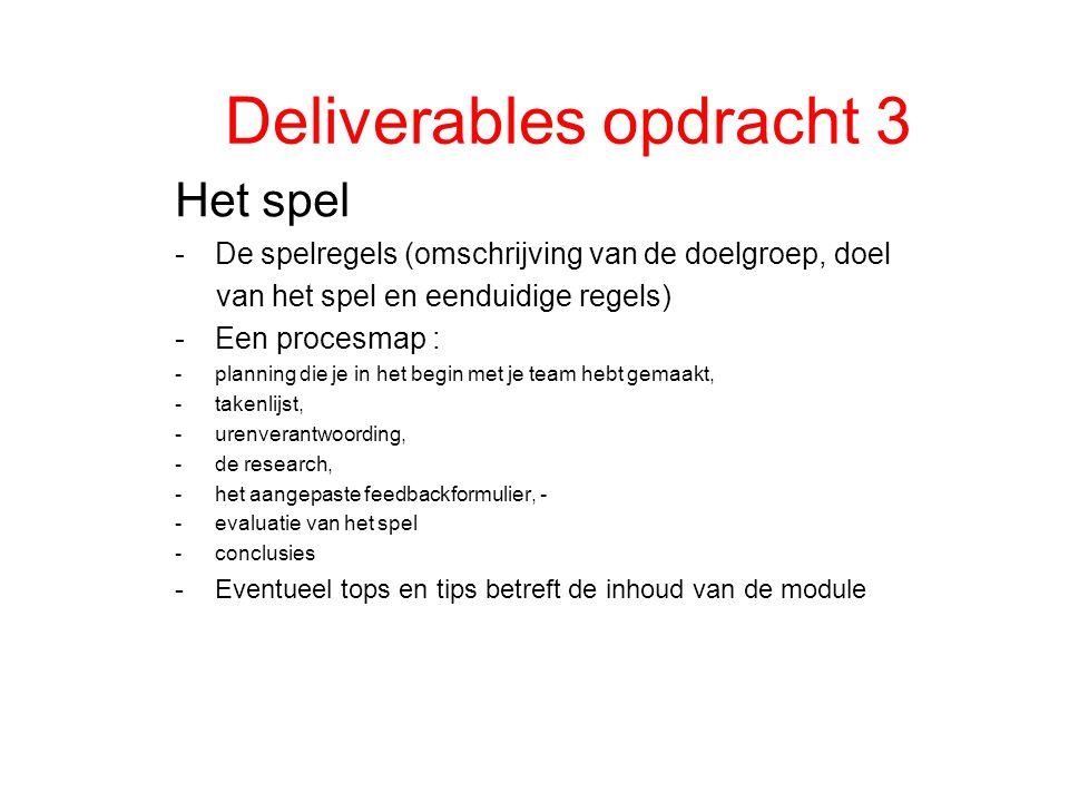 Deliverables opdracht 3 Het spel -De spelregels (omschrijving van de doelgroep, doel van het spel en eenduidige regels) -Een procesmap : -planning die je in het begin met je team hebt gemaakt, -takenlijst, -urenverantwoording, -de research, -het aangepaste feedbackformulier, - -evaluatie van het spel -conclusies -Eventueel tops en tips betreft de inhoud van de module