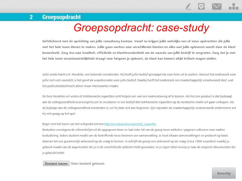 Groepsopdracht: case-study