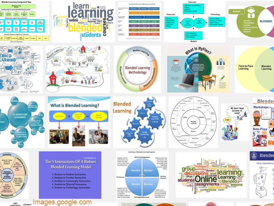 Blended learning Vandeput (2010); Oliver en Trigwell (2005) -online en face-to-face -individuele en groepsopdrachten -variatie in leerstijlen en leeromgeving -interactie tussen studenten en docenten -active learning F2F Online