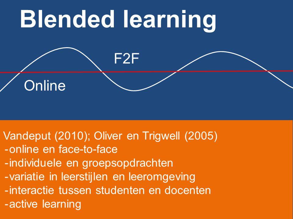 Blended learning F2F Online individuele en groepsopdrachten variatie in leerstijlen en leeromgeving interactie tussen studenten en docenten Active learning Gepersonaliseerd leren