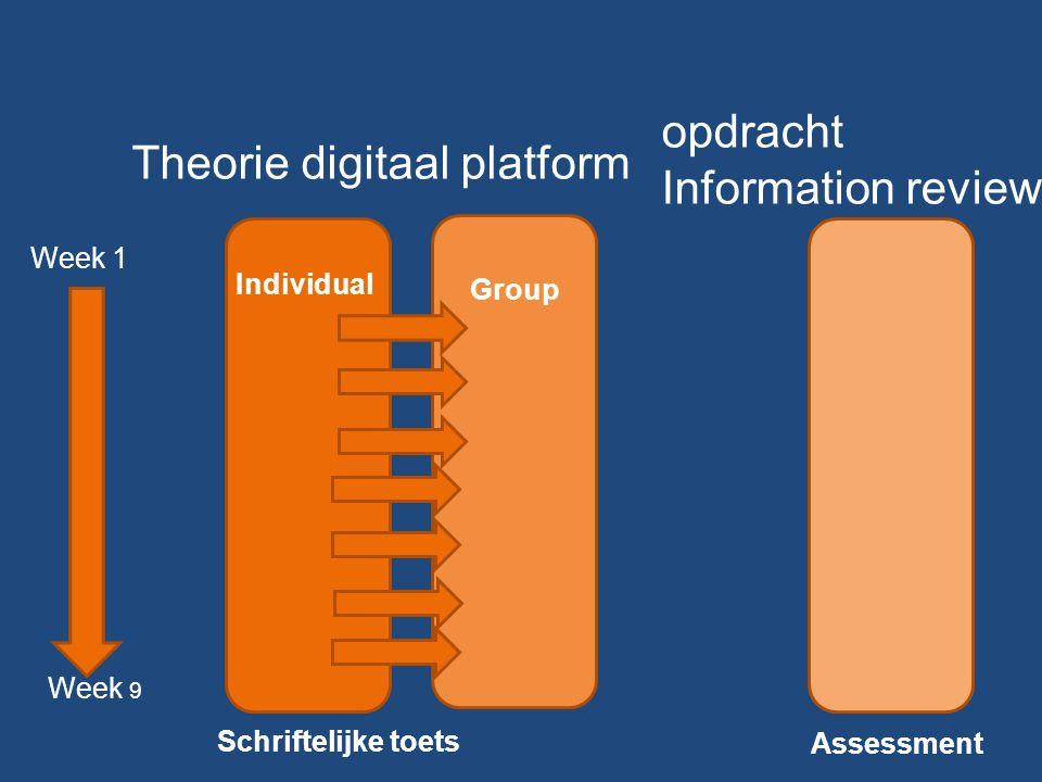 Week 1 Week 9 Schriftelijke toets Assessment Individual Group Theorie digitaal platform opdracht Information review