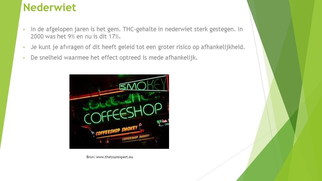 Nederwiet In de afgelopen jaren is het gem.THC-gehalte in nederwiet sterk gestegen.