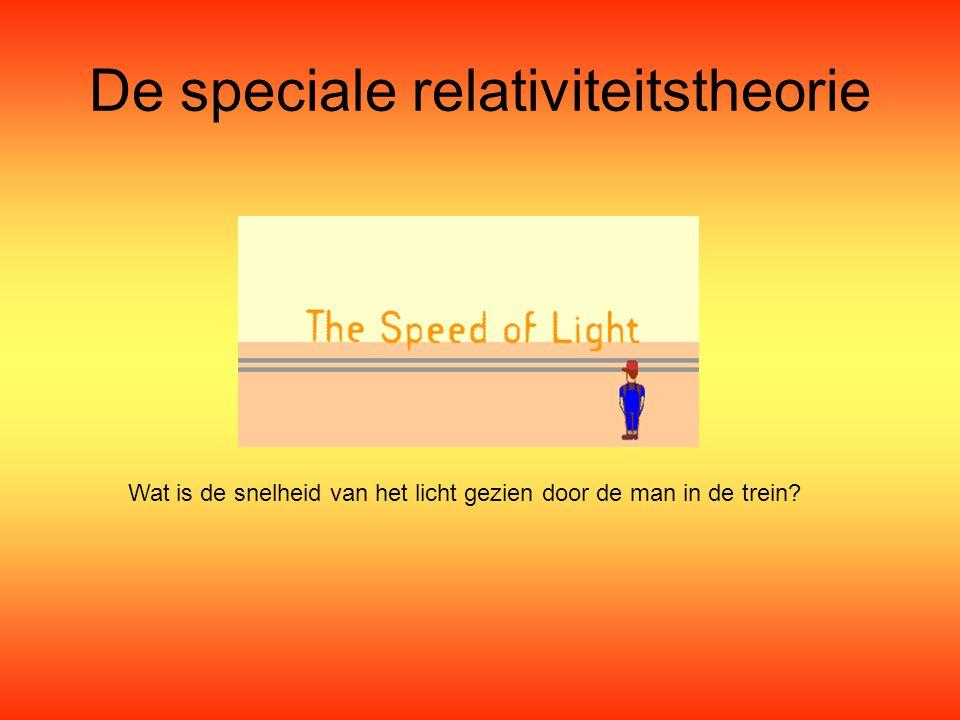 De speciale relativiteitstheorie Wat is de snelheid van het licht gezien door de man in de trein?