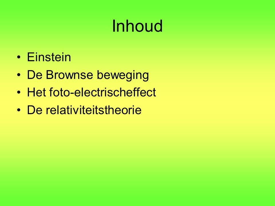 Inhoud Einstein De Brownse beweging Het foto-electrischeffect De relativiteitstheorie
