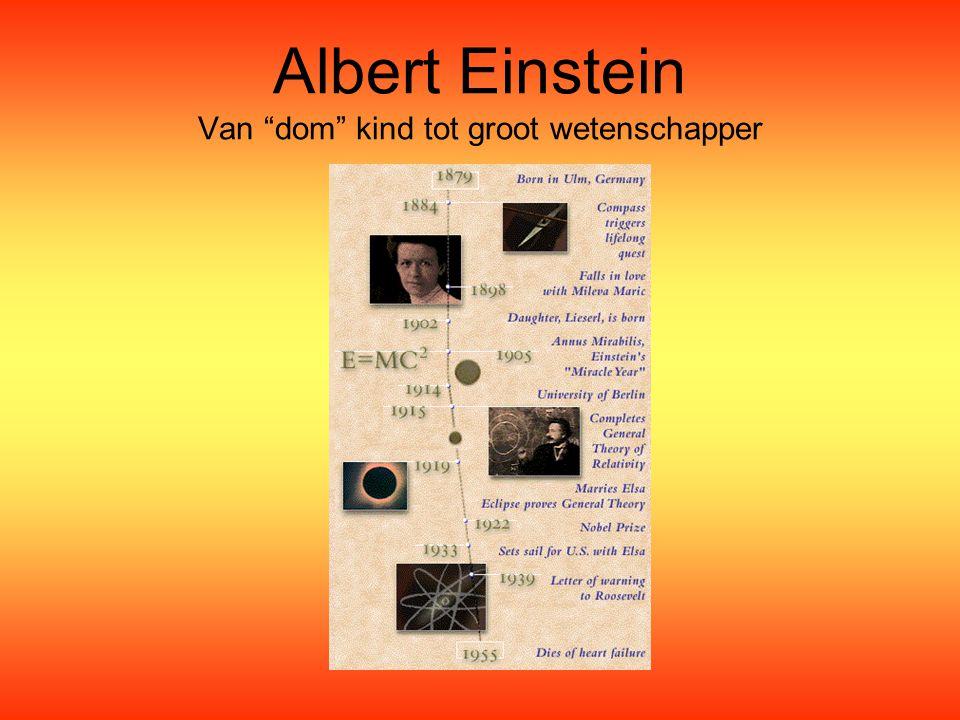 """Albert Einstein Van """"dom"""" kind tot groot wetenschapper"""