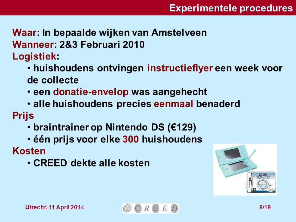 Utrecht, 11 April 201410/19 Vier treatments We onderscheidden: APA: de meest genereuze donateur (per 300) wint LOT: winkans proportioneel aan bijdrage  Bijdragen in enveloppen met adres  contributies zijn niet anoniem VCM is traditioneel anoniem, dus we onderscheiden VCM Ano : VCM met enveloppen zonder adres VCM Add : VCM met enveloppen met adres