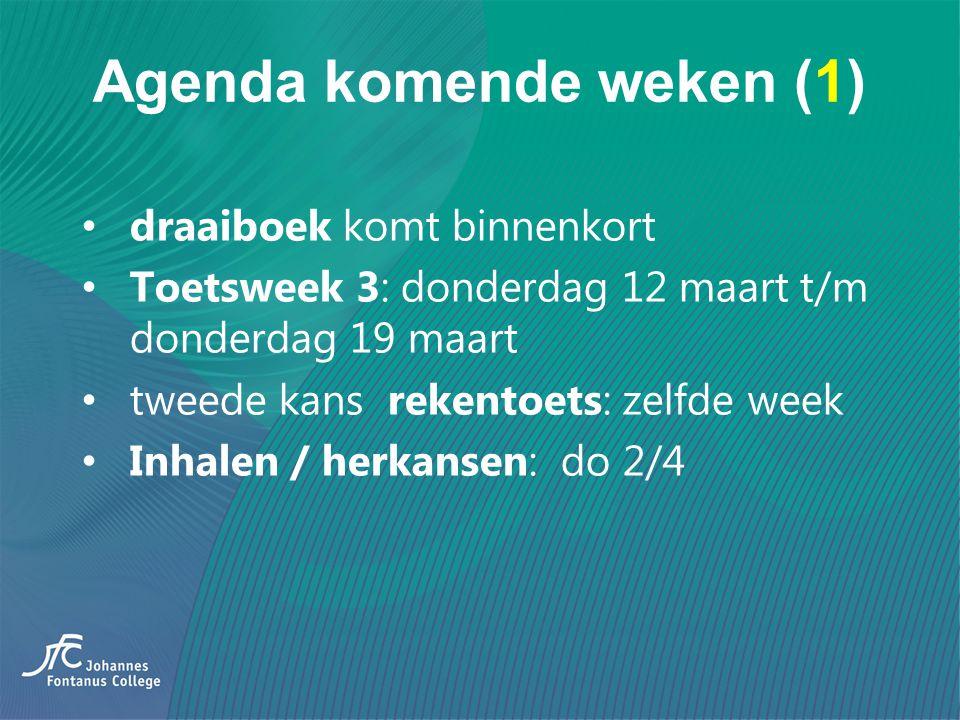 Agenda komende weken (1) draaiboek komt binnenkort Toetsweek 3: donderdag 12 maart t/m donderdag 19 maart tweede kans rekentoets: zelfde week Inhalen