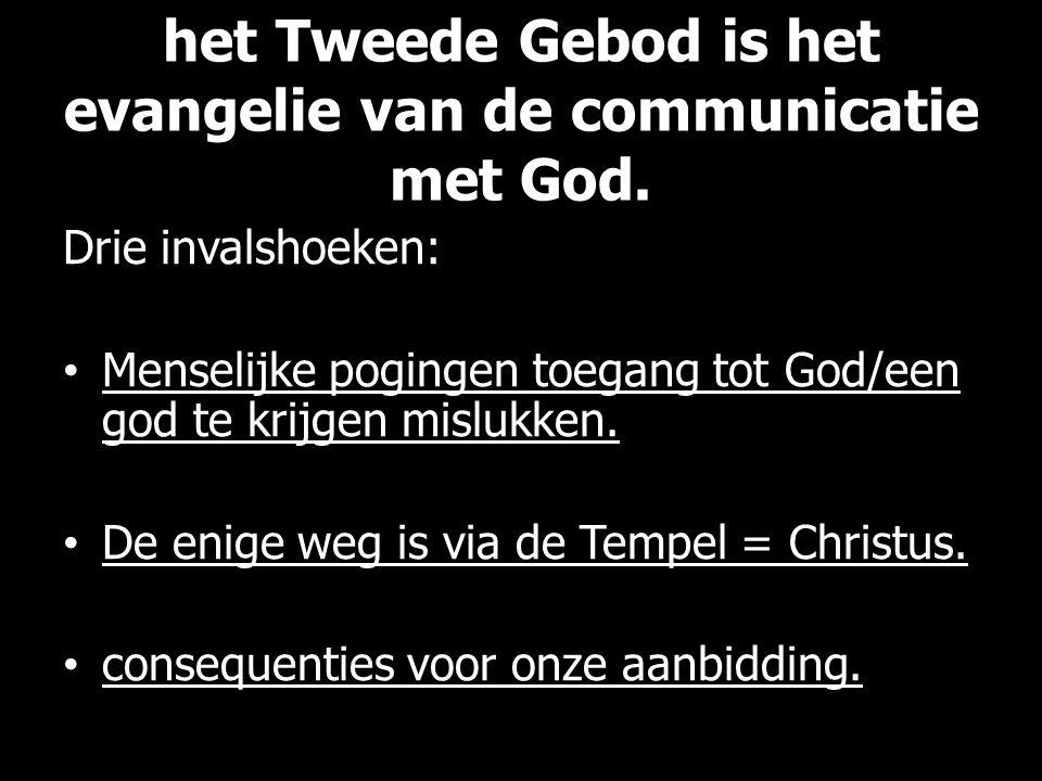 het Tweede Gebod is het evangelie van de communicatie met God. Drie invalshoeken: Menselijke pogingen toegang tot God/een god te krijgen mislukken. De