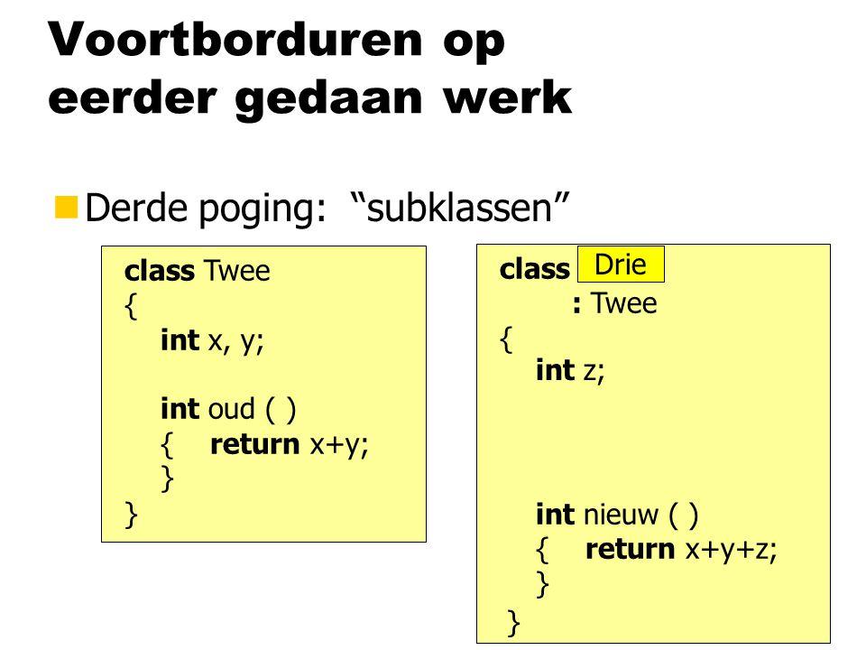 Voortborduren op eerder gedaan werk nDerde poging: subklassen class Twee { int x, y; int oud ( ) { return x+y; } } class Twee : Twee { } int z; int nieuw ( ) { return x+y+z; } Drie