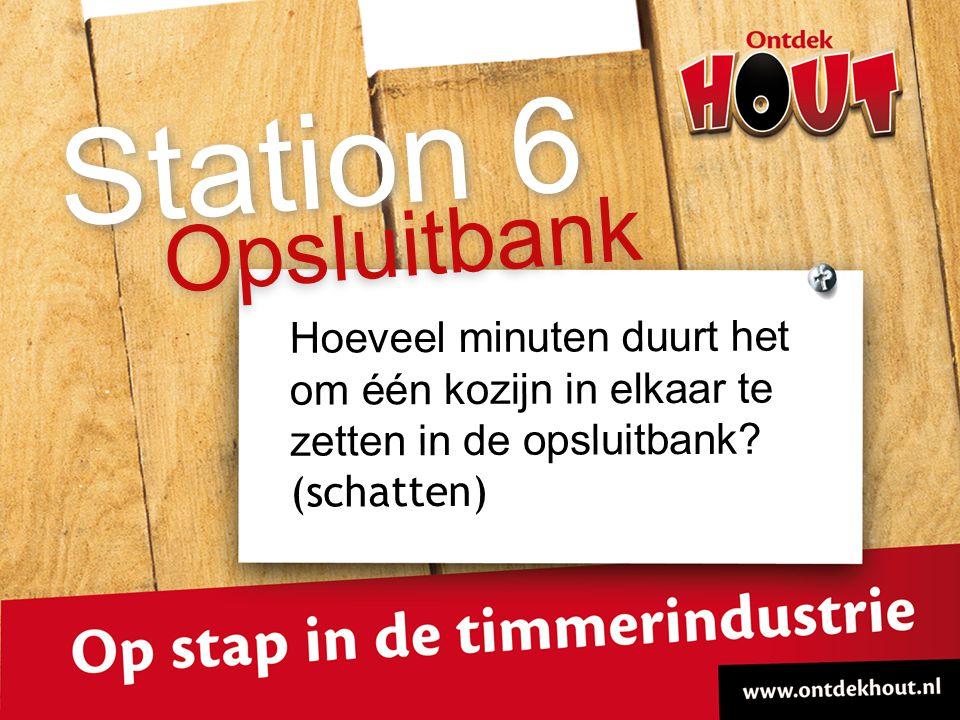 Hoeveel minuten duurt het om één kozijn in elkaar te zetten in de opsluitbank? (schatten) Opsluitbank Station 6