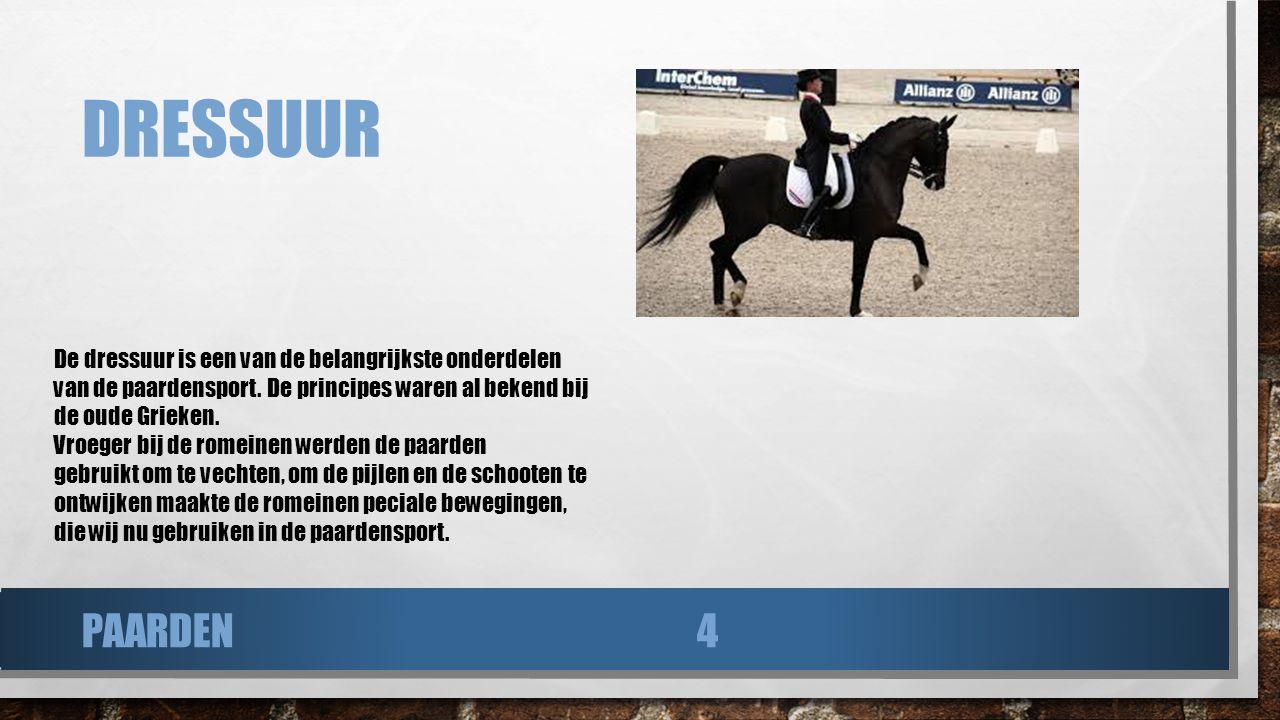 DRESSUUR De dressuur is een van de belangrijkste onderdelen van de paardensport. De principes waren al bekend bij de oude Grieken. Vroeger bij de rome
