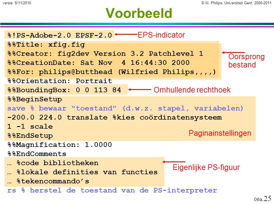 © W.Philips, Universiteit Gent, 2000-2011versie: 8/11/2010 06a.
