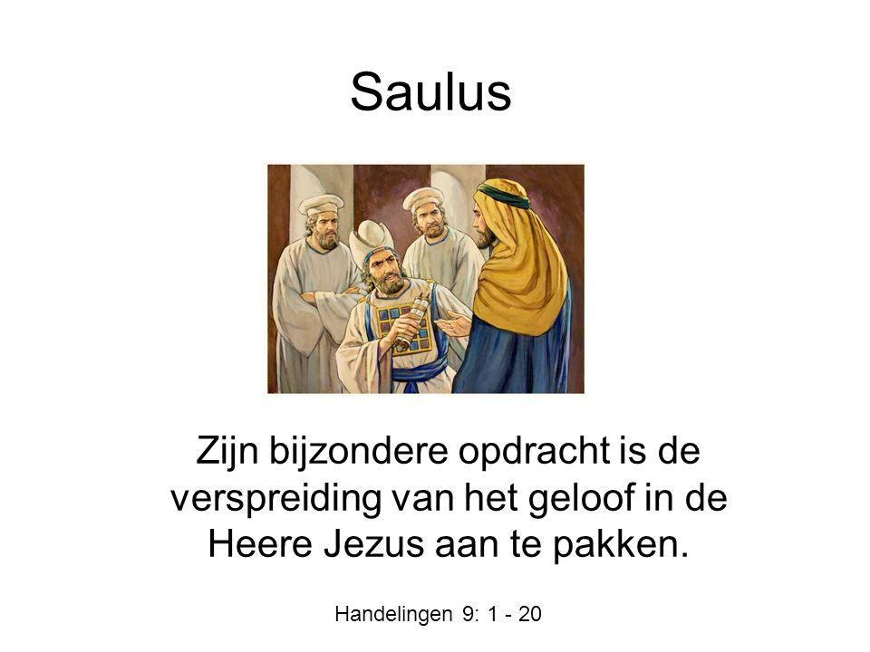 Saulus Zijn bijzondere opdracht is de verspreiding van het geloof in de Heere Jezus aan te pakken. Handelingen 9: 1 - 20