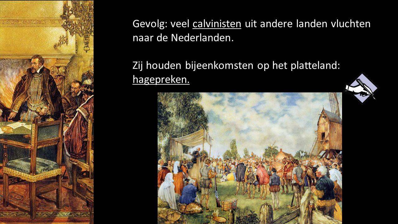 Gevolg: veel calvinisten uit andere landen vluchten naar de Nederlanden. Zij houden bijeenkomsten op het platteland: hagepreken.