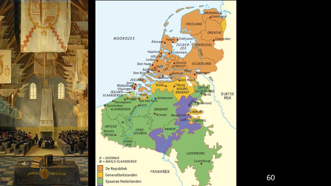 61 De Republiek was een bijzonder land in Europa: Had geen vorst Gewesten waren nog steeds heel zelfstandig De macht lag bij rijke burgers (niet alleen adel) Calvinisme officiële godsdienst Openlijk uitvoeren van het katholieke geloof verboden
