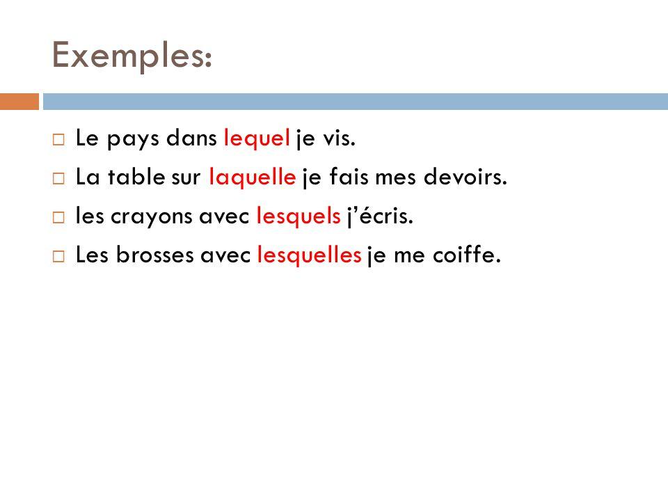 Exemples:  Le pays dans lequel je vis. La table sur laquelle je fais mes devoirs.