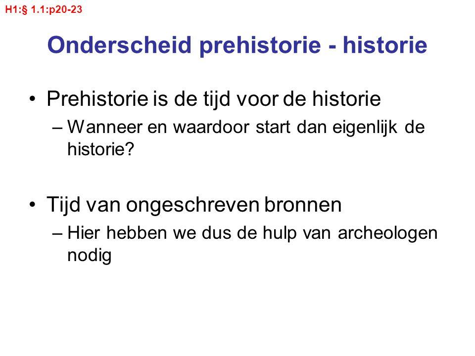Onderscheid prehistorie - historie Prehistorie is de tijd voor de historie –Wanneer en waardoor start dan eigenlijk de historie? Tijd van ongeschreven