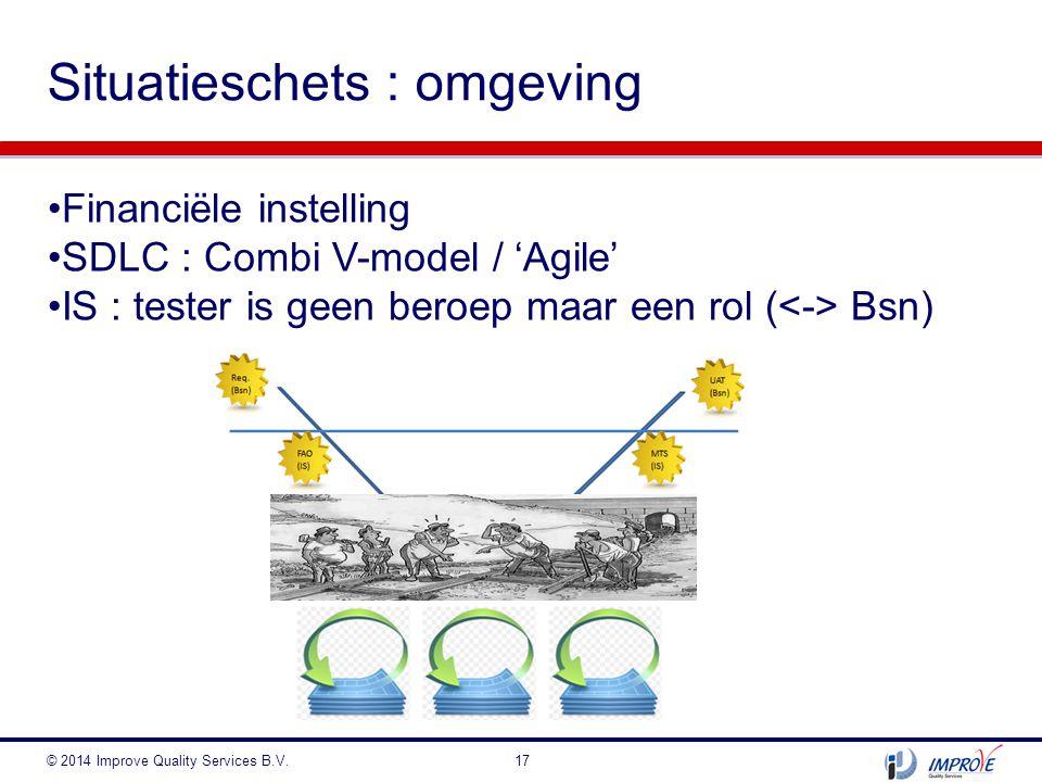 Situatieschets : omgeving © 2014 Improve Quality Services B.V.17 Financiële instelling SDLC : Combi V-model / 'Agile' IS : tester is geen beroep maar