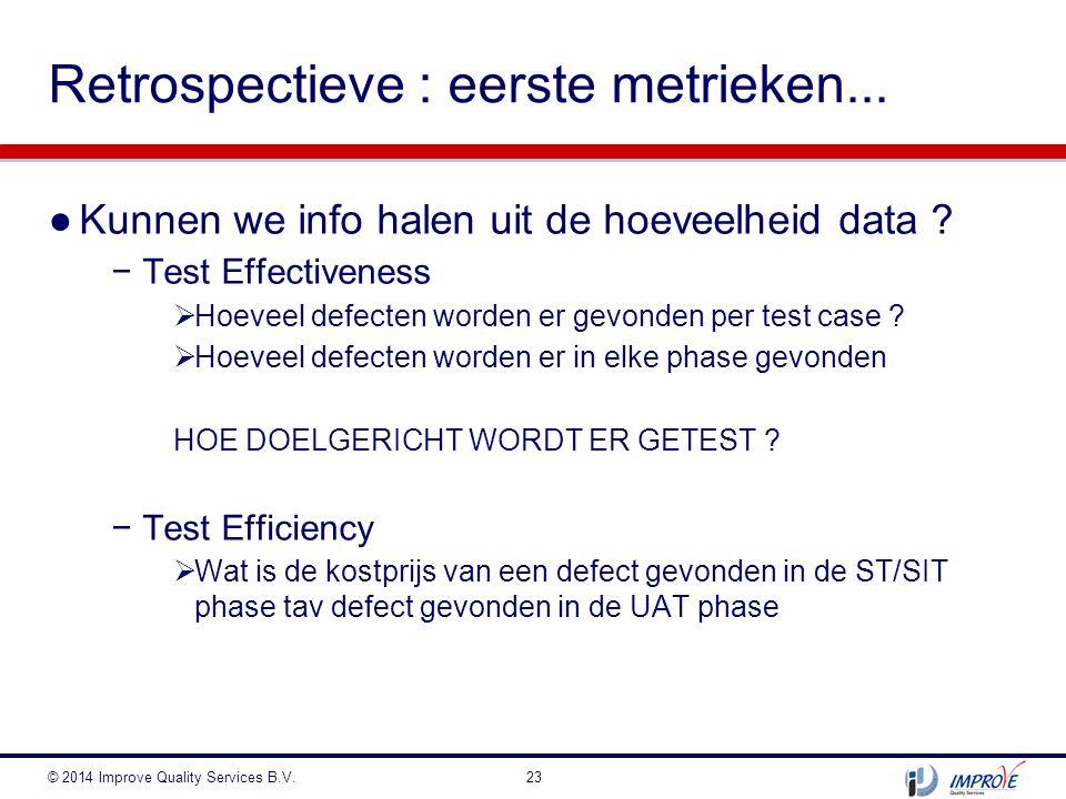 ●Kunnen we info halen uit de hoeveelheid data ? −Test Effectiveness  Hoeveel defecten worden er gevonden per test case ?  Hoeveel defecten worden er