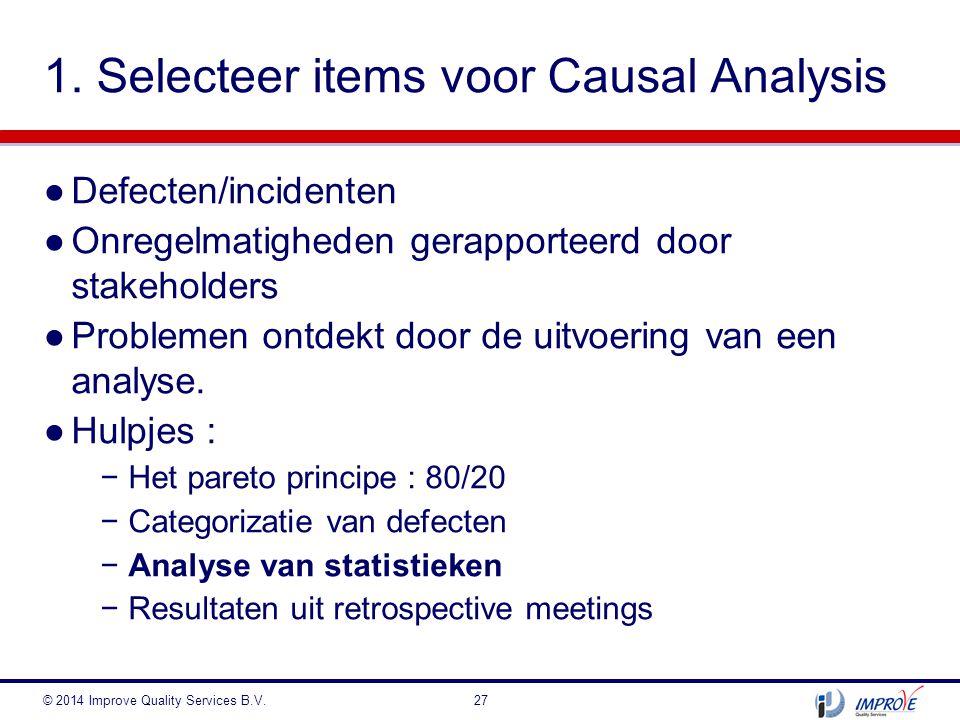 ●Defecten/incidenten ●Onregelmatigheden gerapporteerd door stakeholders ●Problemen ontdekt door de uitvoering van een analyse. ●Hulpjes : −Het pareto