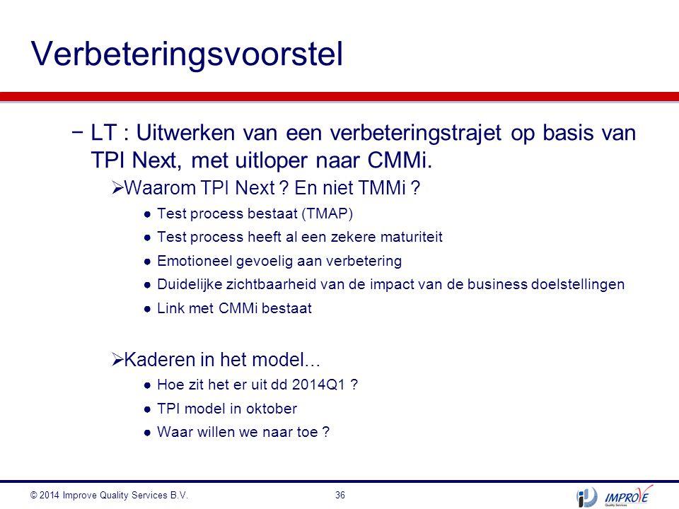 −LT : Uitwerken van een verbeteringstrajet op basis van TPI Next, met uitloper naar CMMi.  Waarom TPI Next ? En niet TMMi ? ●Test process bestaat (TM