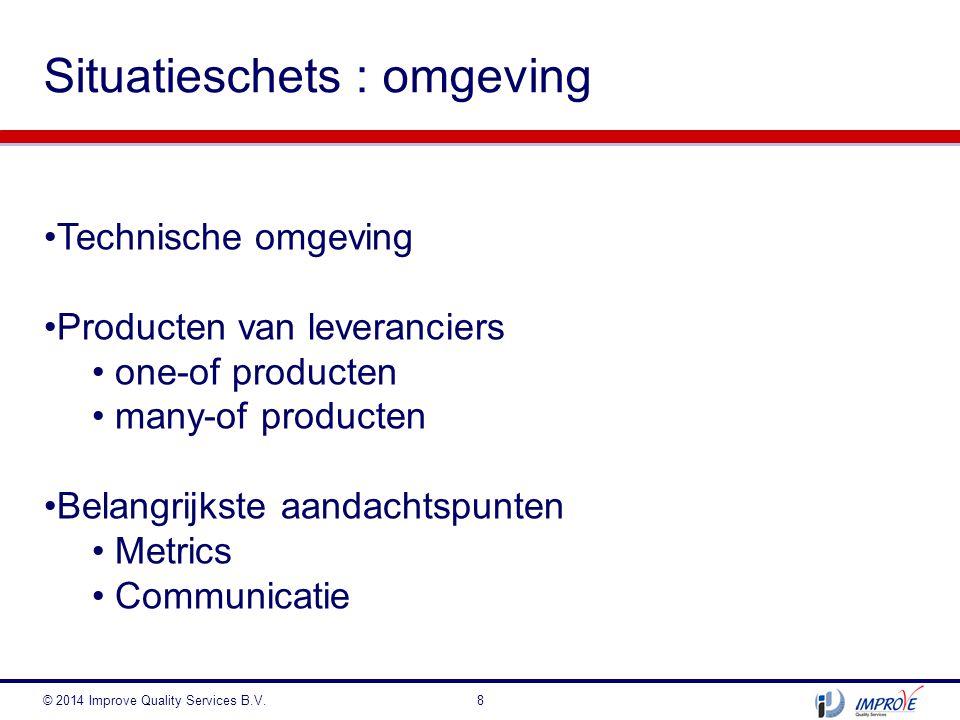 Situatieschets : omgeving © 2014 Improve Quality Services B.V.8 Technische omgeving Producten van leveranciers one-of producten many-of producten Bela
