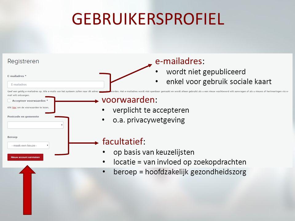 GEBRUIKERSPROFIEL e-mailadres: wordt niet gepubliceerd enkel voor gebruik sociale kaart voorwaarden: verplicht te accepteren o.a. privacywetgeving fac