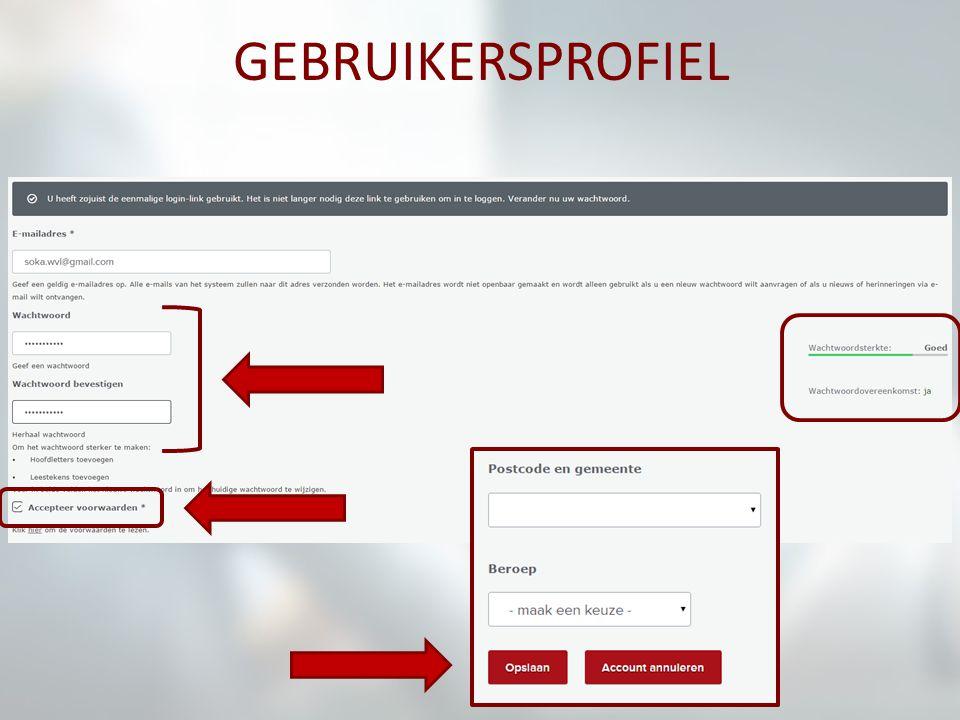 profiel is aangemaakt: 'dashboard'-pagina e-mailadres rechts bovenaan menubalk voor geregistreerde gebruikers