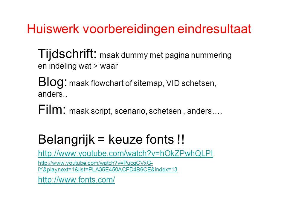 Huiswerk voorbereidingen eindresultaat Tijdschrift: maak dummy met pagina nummering en indeling wat > waar Blog: maak flowchart of sitemap, VID schets