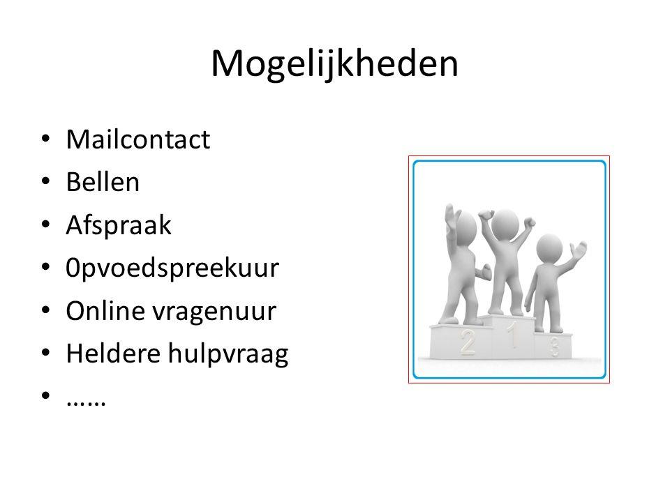Mogelijkheden Mailcontact Bellen Afspraak 0pvoedspreekuur Online vragenuur Heldere hulpvraag ……