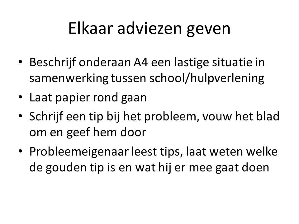 Elkaar adviezen geven Beschrijf onderaan A4 een lastige situatie in samenwerking tussen school/hulpverlening Laat papier rond gaan Schrijf een tip bij