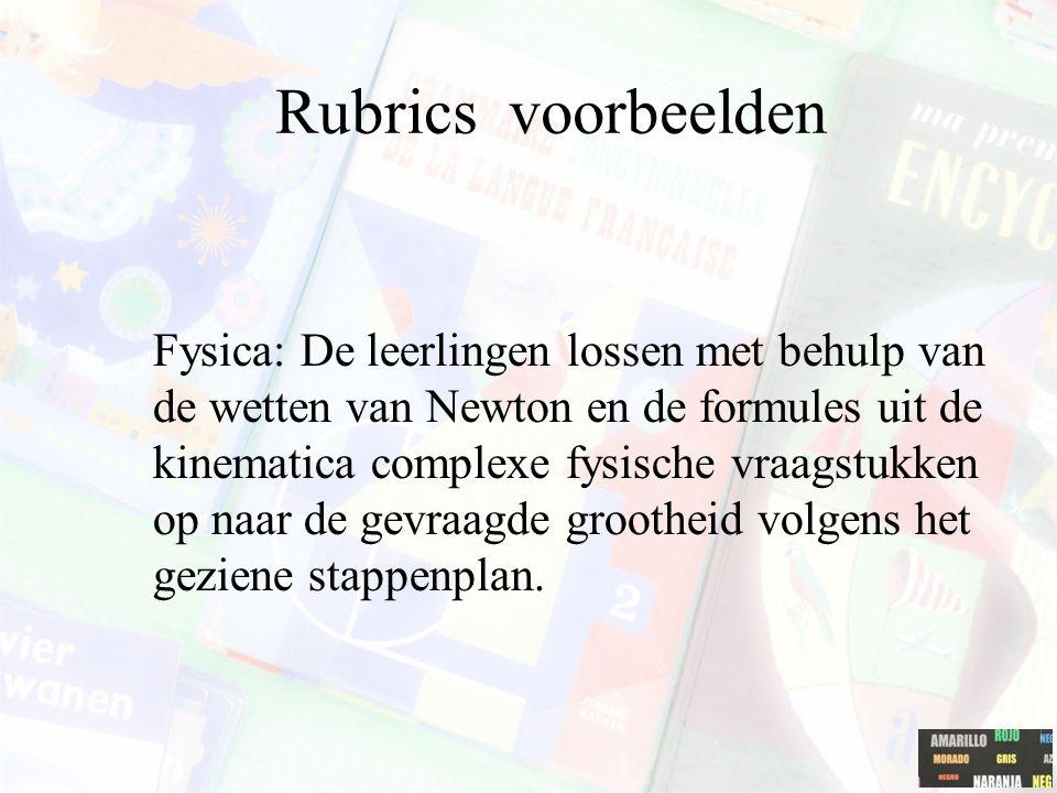 Rubrics voorbeelden Fysica: De leerlingen lossen met behulp van de wetten van Newton en de formules uit de kinematica complexe fysische vraagstukken o